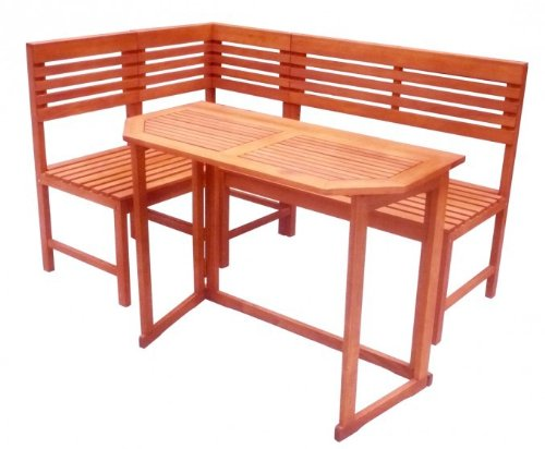 Garten Balkon-Set Klapptisch mit Eckbank Eukalyptus FSC-Holz, geölt