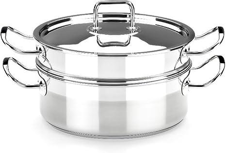 BRA Profesional - Set para cocinar al Vapor con Tapa, 20 cm, Acero ...