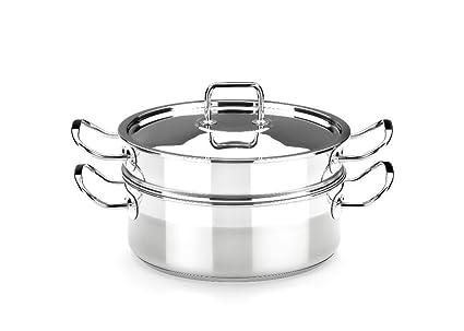 BRA Profesional - Set para cocinar al Vapor con Tapa, 24 cm, Acero Inoxidable