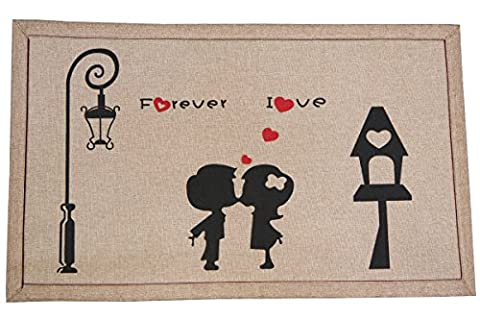 Door Mat - Indoor and Outdoor Rug - In Love Kissing 20 Inch X 32 Inch - Love Door Mat