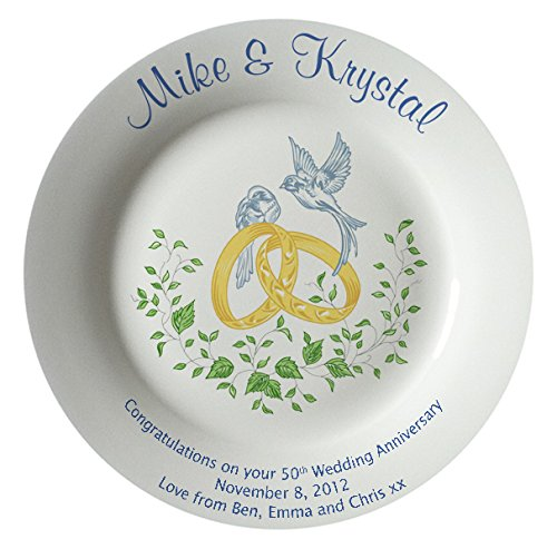 Heritage Pottery Personalized Bone China Commemorative Plate for A 50th Wedding Anniversary - Rings and Doves Design with A Plain Rim