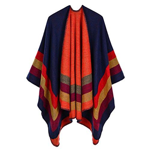 Qise Poncho Shawl Cape Moda cálida sin mangas a rayas estilo elegante bufanda de invierno Gran chal para las mujeres (Navy...