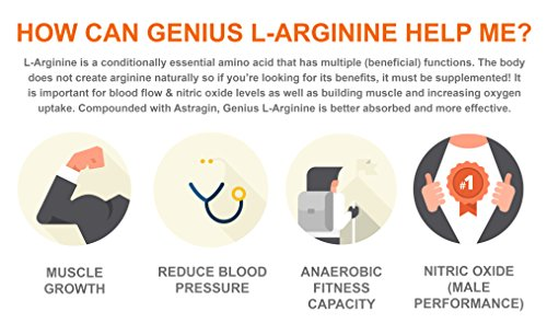 Genius L ARGININE Powder Fermented L Arginine Nitric Oxide Supplement, Natural Muscle Builder & NO Booster for Healthy Blood Pressure, Protein Synthesis and Strength Building, Lemon, 30 Sv