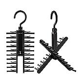 Kbnian 2pcs Cross X Hangers Tie Belt Rack Organizer Hanger Non-Slip Clips Holder with 360 Degree Rotation