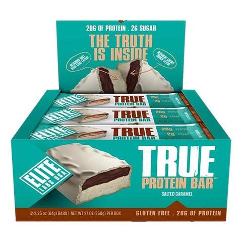 True Protein Bar - Salted Caramel   2g of Sugar   Gluten Free   Low Calories   20g of high Quality Protein (Salted Caramel)