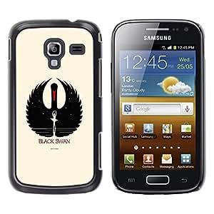 Caucho caso de Shell duro de la cubierta de accesorios de protección BY RAYDREAMMM - Samsung Galaxy Ace 2 I8160 Ace II X S7560M - Black Swan