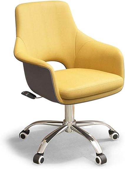 Sedia da ufficio girevole, sedia da scrivania gialla con