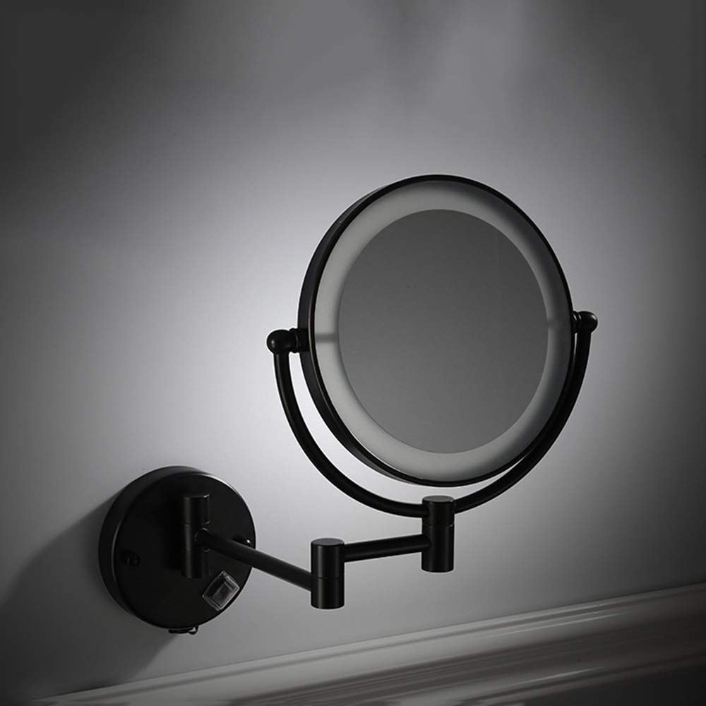 Wall Color : Black, Size : 8-inch 3X Concealed Wiring Mounted Vanity Mirrors Black LED 8-inch Makeup Mirror Wall-Mounted with Light Beauty Mirror Double-Sided Folding 3X Magnifying Mirror