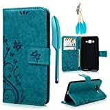 Galaxy Grand Prime G5308/G530H Case-MOLLYCOOCLE Stand Wallet ID Holders Emboss Vintage Flower Design Flip Folio TPU Soft Bumper PU Leather Skin Cover for Samsung Galaxy Grand Prime G5308/G530H -Blue