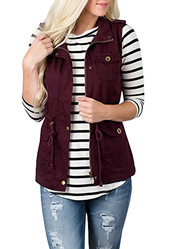 Tutorutor Women's Military Safari Utility Drawstring Lightweight Vest Jacket with Pocket (Large, Burgundy)