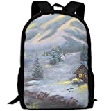 SuBenSM Winter House Near Lake Adult Backpack Daypack Fit Outdoor,College,travel