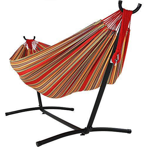 Sunnydaze Extra Large Brazilian Double Hammock with Stand and Carry Bag, Max Weight: 400 Pounds, Sunset (Hammocks Stand Alone)
