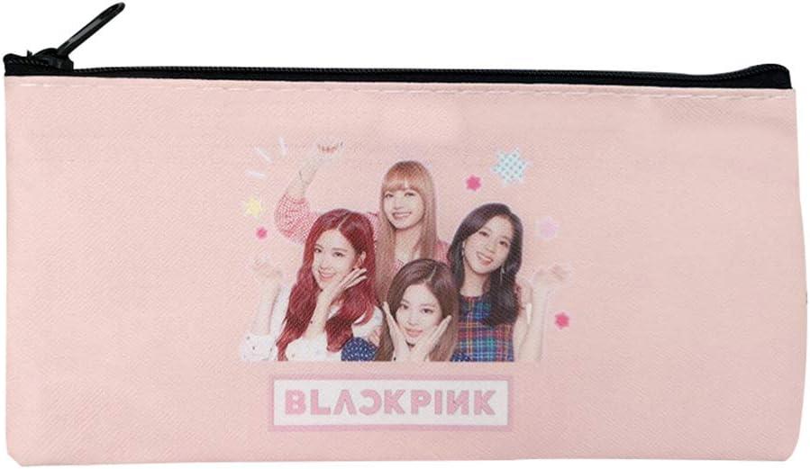 Saicowordist KPOP EXO TWICE BLACKPINK Nette Q Version Grande Capacit/é Sac /à Crayon Impression Sac de Rangement Hot Cadeau BLACKPINK-Pink
