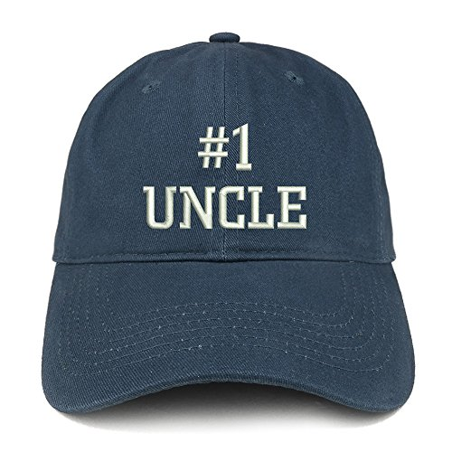 Trendy Apparel Shop Number 1 Uncle Embroidered Low Profile Soft Cotton Baseball Cap - Navy
