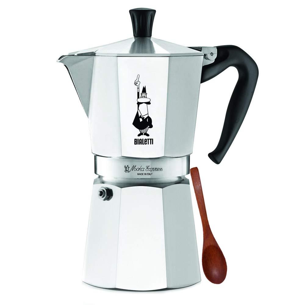 Original Bialetti 9-Espresso Cup Moka Express | Espresso Maker Machine and Zonoz Wooden Small Espresso Stirring Spoon Bundle (9-cup, 18.5 fl oz, 550 ml)