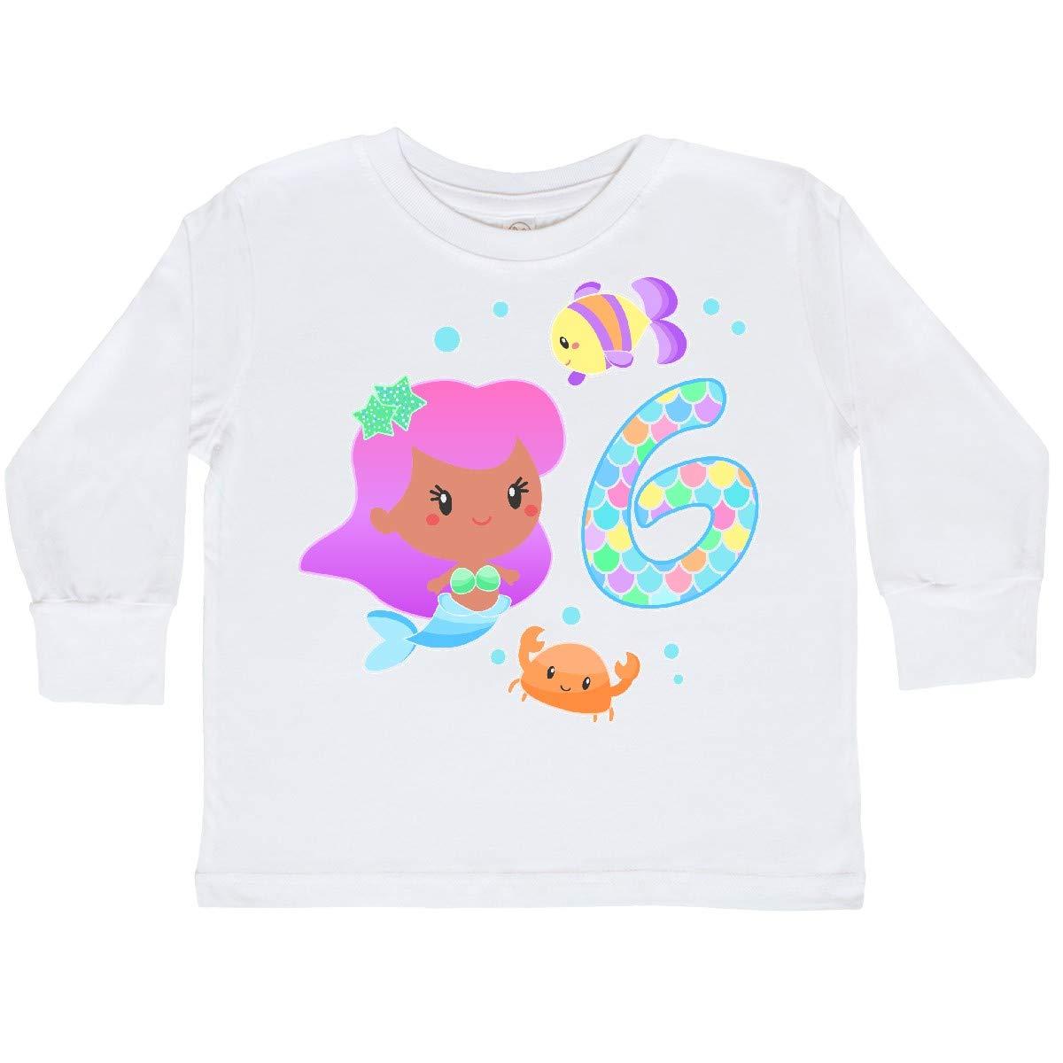 inktastic Sixth Birthday Mermaid with Fish and Crab Toddler Long Sleeve T-Shirt