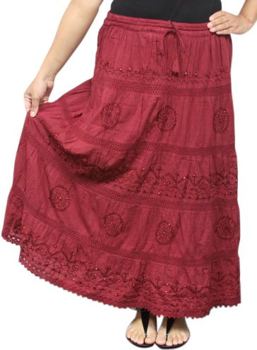 Peasant Long Skirt (LSS8 Maroon LONG SOLID Ethnic Womens Peasant Bohemian Gypsy Full Length Skirt - Lined)