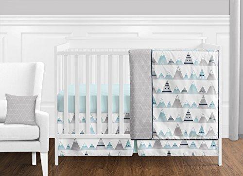 Sweet Jojo Designs 11-Piece Navy Blue, Aqua and Grey Aztec Mountains Baby Boy or Girl Unisex Crib Bedding Set Without Bumper