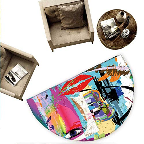 Art Semicircular CushionContemporary Paint Strokes Splashes Face Mask Paint Kiss Graffiti Grunge Creative Theme Entry Door Mat H 63