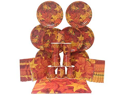 Fall Leaves Party Supply Pack - Includes Plates,