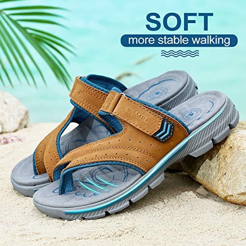 94e3b7857 CAMEL CROWN Men Sandals Outdoor Beach Slippers Comfortable Leather Slide  Sandal for Summer