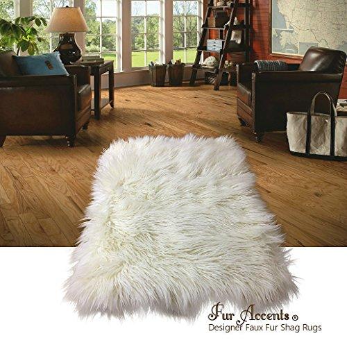 ry Natural White Carpet - Warm Soft Faux Fur Sheepskin - Rectangle Accent Rug - (5'x7') ()
