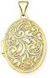ICE CARATS 14k Yellow Gold Love You Always Reversible Photo Pendant Charm Locket Chain Necklace That Holds Pictures Oval Fine Jewelry Gift Set For Women Heart