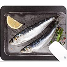 Luxlady Gaming Mousepad 9.25in X 7.25in IMAGE: 34646171 Mediterranean seafood concept Fresh anchovy fish on ice plate with colorful peppercorns and fresh herbs on black textured background