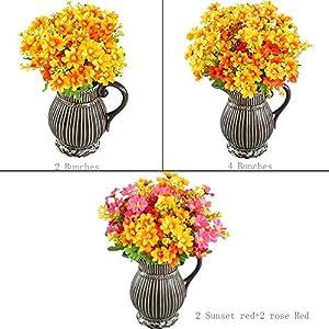 HO2NLE 4PCS Artificial Mini Daisy Flowers Bouquets 28 Heads Silk Arrangements Bridal Home DIY Garden Office Dining Table Wedding Decor Yellow 5