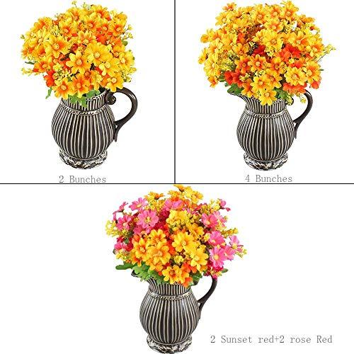 HO2NLE-4PCS-Artificial-Mini-Daisy-Flowers-Bouquets-28-Heads-Silk-Arrangements-Bridal-Home-DIY-Garden-Office-Dining-Table-Wedding-Decor-Yellow