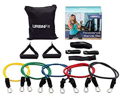 URBNFit Resistance Bands Set (12 Piece) Includes Door Anchor, Ankle & Wrist Strap, Exercise Guide And Carrying Bag For Strengthening And Training (Pro Series) by URBNFit