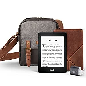 """Kindle Voyage Travel Bundle including Kindle Voyage 6"""" E-Reader, with Special Offers, Amazon Premium Leather Cover, Power Adapter, and free caseable Travel Bag in Black/Grey"""