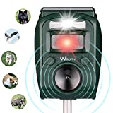 Solar Animal Repeller Humane Ultrasonic Pest Control Repellent PIR Sensor Alarm with Ultrasonic Sound, Motion Sensor and Flashing Light for Cats, Dogs, Squirrels, Moles, Rats and Wild Animals