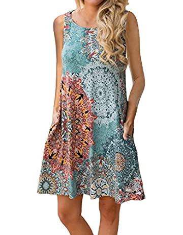 2f0d20f314ed ETCYY Women s Summer Casual Sleeveless Floral Printed Swing Dress Sundress  with Pockets