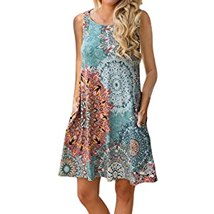 ETCYY Women's Summer Casual Sleeveless Floral Printed Swing Dress Sundress with Pockets