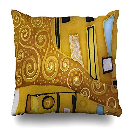 Ahawoso Throw Pillow Cover Square 16x16 Love Brown Pattern Batik Abstract Klimt Purple Mosaic Nouveau Modern Vintage Artistic Attitudes Design Zippered Cushion Pillow Case Home Decor Pillowcase