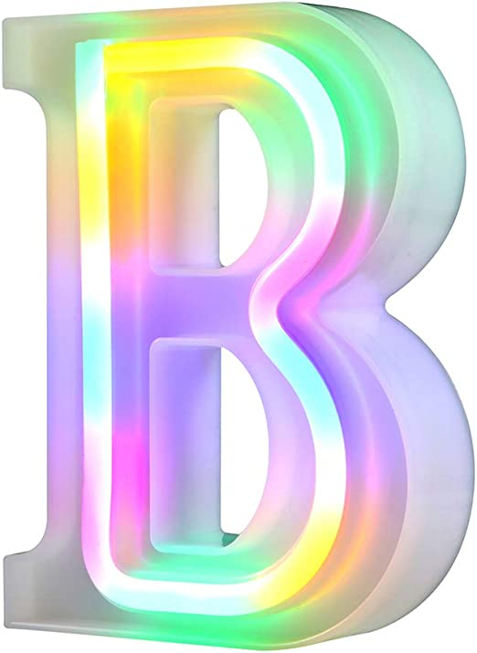 WARMTHOU LED Marquee Letter Lights Sign 26 Alphabet Letter Bar Sign Letter Signs for Wedding Christmas Birthday Partty Supplies,USB/Battery Powered Light Up Letters for Home Decoration-Colourful B