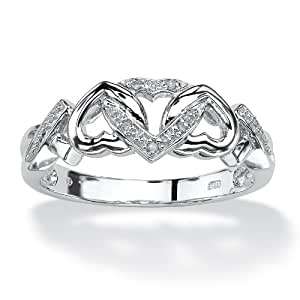 PalmBeach Jewelry Diamond Accent Platinum over Sterling Silver Interlocking Hearts Promise Ring