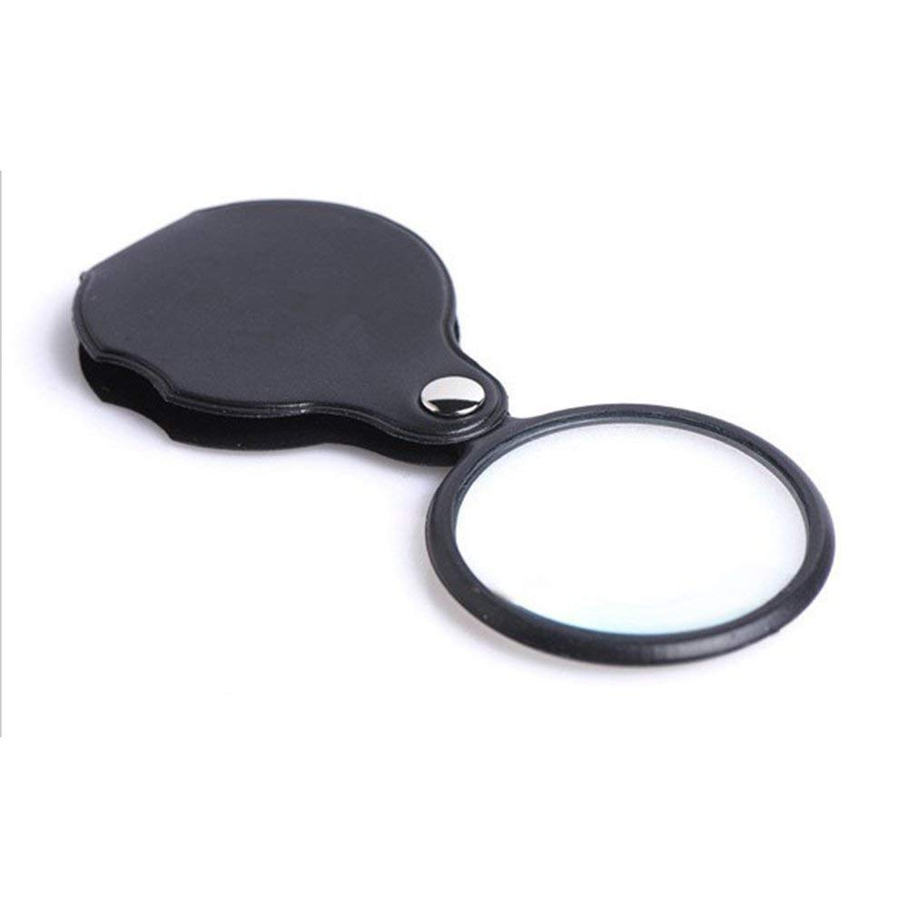 Xeminor Portable Magnifying Glass Leather Case Cover Folding Round Magnifier for Outdoor Camping Take Fire