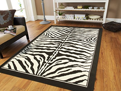 Wool Zebra Rug - Large Area Rugs for Living Room 8x10 Zebra Animal Print Rugs for Dining Room Clearance Under 100