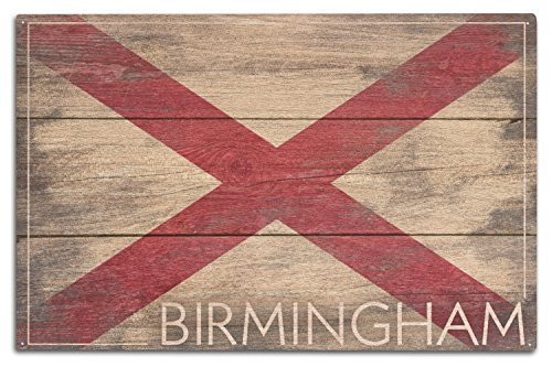 (Lantern Press Birmingham, Alabama - Rustic Alabama State Flag (10x15 Wood Wall Sign, Wall Decor Ready to Hang))