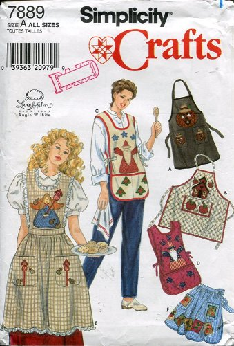 Simplicity Crafts Pattern #7889 ~ Misses Half and Full Size Aprons with Theme Appliques ~ All Sizes ()