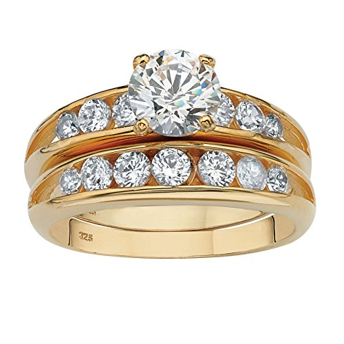 14K Yellow Gold over Sterling Silver Round Cubic Zirconia Channel Set Bridal Ring Set Size 8
