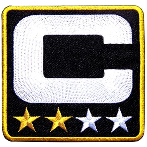 2 Stars Gold Black Captain C Jersey Football Sport Embroidered Iron on Patch