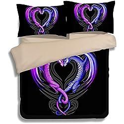 """FAITOVE Black Purple Dragon Microfiber 3pc 80""""x90"""" Bedding Quilt Duvet Cover Sets 2 Pillow Cases Full Size"""
