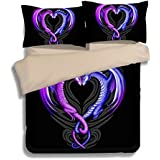 """FAITOVE Black Purple Dragon Microfiber 3pc 90""""x90"""" Bedding Quilt Duvet Cover Sets 2 Pillow Cases Queen Size"""