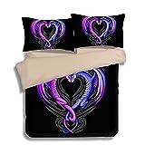 FAITOVE Black Purple Dragon Microfiber 3pc 90''x90'' Bedding Quilt Duvet Cover Sets 2 Pillow Cases Queen Size
