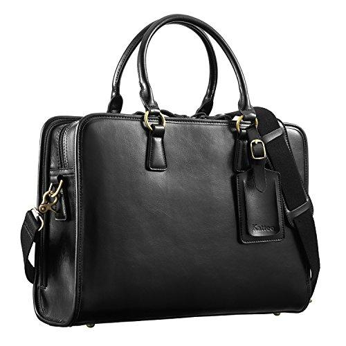 "Kattee Women's Leather Briefcase Messenger Bag 14"" Laptop Handbag (Black)"