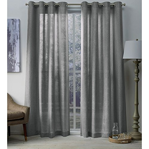 - Exclusive Home Curtains Sparkles Heavyweight Metallic Fleck Textured Linen Window Curtain Panel Pair with Grommet Top, 54x108, Black Pearl, 2 Piece