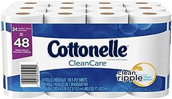 Cottonelle CleanCare Bath Tissue, Double Roll Toilet Paper, 24 Count